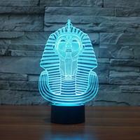 Sphinx 3D Egitto Lampada Faraone 3D Night Light Table Desk Illusion Optical Lamps 7 colori che cambiano le luci