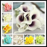 6 Cores Upick-20 pçs / lote Real Toque Pu Calla lírio de Casamento Bouquet De Noiva Flores decorativas coroas de flores