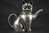Chinese Collectible dekorieren Handarbeit Old Tibet Silber Carving Katze Lucky Teekanne