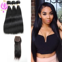 Human Hair With Closure Brazilian Straight 3Bundles With Lac...