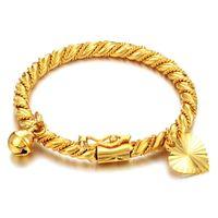 Gouden Armband Bangle Manchet Voor Kinderen Kid Jongen Meisje Baby Hart Hanger Bell Twist Ketting Polsband Mode-sieraden