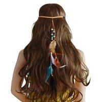 idealway اليدوية العرقية حبل الغجر القبائل الخرز الخشب الريشة الشرابة الشعر Hairband كليب للمجوهرات النساء