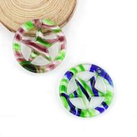 Nouveau design rayé plat rond fait main Murano Star verre pendentif pour collier 12 pcs / boîte, MC0086