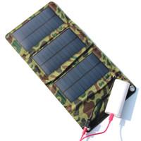 ¡Venta al por mayor! Cargador solar portátil de 5W para el teléfono móvil + Panel solar + Cargador de batería USB plegable Monedero / bolso 5PCS / Lot Envío gratuito