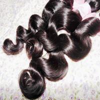 Brezilyalı Gevşek spiral kıvırmak demetleri bakire Saç Uzantıları 4 adet / grup İnsan Saç Dokuma Doğal Renk Saç