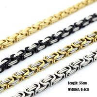 Großhandel! Mens Byzantinischen Box Gliederkette Halskette Für Männer Mode 316L Edelstahl Jewlery 55 cm * 0,4 cm