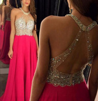 Custom Haltre A Line Prom Dresses 2017 New Beads Crystal Bac...