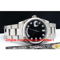 New arrive free gift box 18kt White Gold Black Diamond Dial ...