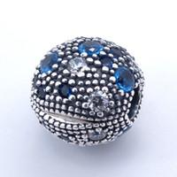 Clip di cristallo blu clip di fascino di stelle rotonde fit braccialetto di ciondoli braccialetto di pandora per gioielli donna trovare gioielli in argento sterling 925