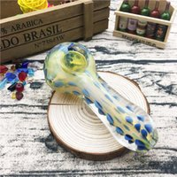 Yellow tube with blue spots 4. 3 inches Spoon Glass Smoking P...