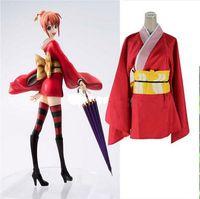 Anime Cosplay Kostüme Gintama Silber Seele Kagura Kimono Red Uniformen für Halloween