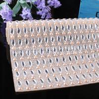 Colore champagne 40X24 cm Finitura in cristallo con strass trasparente con colori Perline perline Banding Trim Applique hotfix Abbigliamento fai-da-te