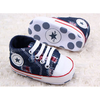 Al por mayor- DreamShining Zapatos de bebé Canvas Star Infant Newborn Toddler Shoes Primavera Otoño Niños Calzado First Walkers Baby Boy Sneakers