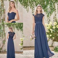 Elegante, barato, azul marino, largo, vestido de dama de honor, dos piezas, encaje, dama de honor, vestido de boda, vestido de invitado, tamaño personalizado