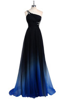 2017 New Gradient Ombre Chiffon Prom Dresses One Shoulder Fl...
