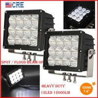 """DHL 2PCS 7.4 """"120 W CREE-chips LED-werkzaamheden rijden off-road light 12led * 10W vierkante spot potlood / flood spreid balk 12000LM 10-60V super helder"""