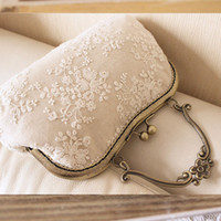 Wholesale- Handmade lace tote bag bride mouth of gold handle...