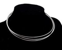 10st / lot silverpläterade chokers halsband ledning tråd för DIY Craft mode smycken gåva 18inch W22 Gratis Shipp
