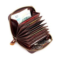 Men' s RFID Blocking Coffee Leather Zipper Around Wallet...