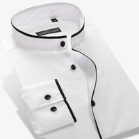 Оптовая продажа-мужская Мандарин воротник рубашки 100% хлопок с длинным рукавом тонкий сплошной цвет мужские бизнес повседневная одежда Рубашки
