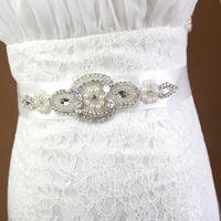 Cinturini da sposa staccabili 2017 Ribbon Perle Cristalli Pietre Strass Bling Wedding Cinturini per spose Rosa Nero Avorio Champagne Bianco Rosso