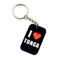 1pc 나는 Tonga 실리콘 개 태그 키 체인을 사랑한다 혜택에 완벽한 음악 팬을위한 선물