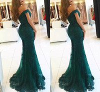 2018 Elegant Dark Green Off Shoulder Beaded Mermaid Prom Dre...