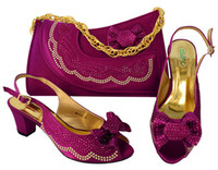 Women Wedges Summer New Fashion Purple Shoes With Rhinestone And Bowtie Design Kitten Heel 65CM African Match Handbag Set For Dress MM1046