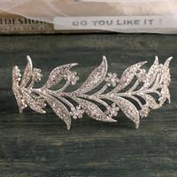 Ins Yaprak Rhinestones Kronlar Düğün Gelin için Gelin Saç Aksesuarları Kraliçe Kızlar Parti Düğün Aksesuarları Takı Taç Ücretsiz Kargo