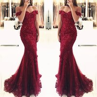 2018 New Fashion Burgundy Mermaid Prom Dresses Lace Applique...