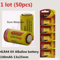 50 stücke 1 los 4LR44 476A 4A76 A544 V4034PX PX28A L1325 6 V trockene alkaline batterie 6 Volt Batterien karte VSAI Kostenloser Versand