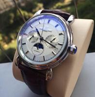 새로운 갈색 검은 가죽 패션 기계 남성용 스테인레스 스틸 자동 운동 시계 스포츠 망 자기 바람 시계 손목 시계
