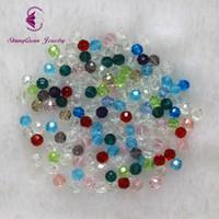 Spedizione gratuita multi colore 4mm 2500 PZ Bicone perline di cristallo Taglio Sfaccettato Rotondo Perle di Vetro collana del braccialetto Monili Che Fanno FAI DA TE