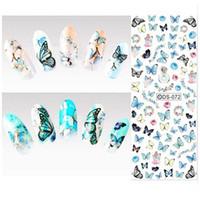 Wasser-Transfer-Nagel-Kunst-Aufkleber farbiger Schmetterlings-Nagel umschließt Aufkleber-Wasserzeichen-Fingernägel-Abziehbilder 50pcs / lot freies Verschiffen
