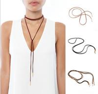 Moda Charm Bohemia Seksi Siyah Beyaz Kahverengi Deri Gerdanlık Kolye Takı Kadınlar Uzun Kazak Kolye KJ