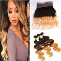 Pre Plucked 360 Full Lace Frontale Fermeture Avec 3Bundles Body Wave 1B / 4/27 Brown Miel Blonde Trois Tons Ombre Vierge Cheveux Weaves