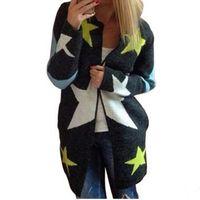 Suéteres das Mulheres Atacado - Mulheres Cardigans Estrelas Padrão Imprimir Moda Casual Longo Solto Molhado De Malha Sleeve Outwears