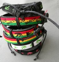 Çok Karışık Renk Spor Manşet Etnik Tribal Deri Bileklik Bob Marley yaprak