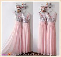 Блестящие Блестками Длинные Розовый Шифон Платье Невесты Формальные Свадебные Платья 2017 Новое Прибытие На Заказ Платья Невесты