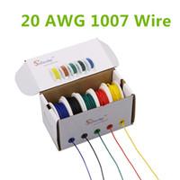 30M UL 1007 20AWG مربع مزيج 1 مربع 2 حزمة الأسلاك الكهربائية كابل خط طيران النحاس PCB سلك 5 اللون