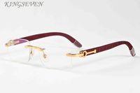 Retro-Sonnenbrille 2020 Bambusholz Sonnenbrillen für Frauen randlos Gold Silber mentaler Rahmen schwarz klare Linse mit Kastensonnegläser für Männer