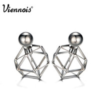 Viennois Gun Color Stud Earrings for Women Vintage Geometric...