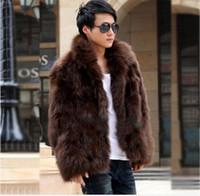 جديد أزياء الشتاء فو الفراء الرجال سترة هوديس معطف الفرو البني الأبيض الرجال طويلة الأكمام ملابس الشتاء قميص