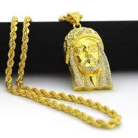 18 K chapado en oro JESÚS Christ Piece cabeza cara Hip Hop colgante collar Charm Chain para hombres y mujeres accesorios de moda de vacaciones