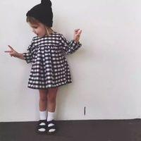 INS Sıcak Satmak Yeni Kız Uzun Kollu Elbise Bebek Giyim Siyah Beyaz Ekose Pamuk Tutu Prenses Elbise Kızlar Için