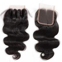 8A Brasiliano Virgin Human Hair Chiusura a pizzo diritti Corpo dritto Chiusure d'onda 4x4 Dimensioni GRATUITA / Middle / 3 VOINE Parte Closura di pizzo brasiliana Colore naturale