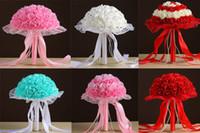 Toptan Best Seller Düğün Buketleri Dantel Rhinestones Turkuaz / Pembe / Beyaz / Kırmızı El Yapımı Çiçekler Yapay Nedime Buket Ipek Kurdele