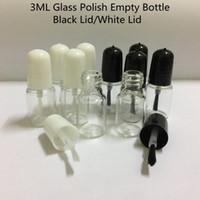 3 ml/3G botella de esmalte de uñas vacía con cepillo transparente redondo uñas aceite barniz botellas de vidrio con tapa de plástico
