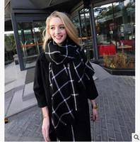 68cfb64ab2b Горячие продажи Осень Зима США черный красный плед длинные шарфы старинные  женские мягкие имитация кашемира шарфы пашмины хорошее качество длинные Шали