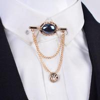 Venta al por mayor- Moda de alta calidad Cristal gema hombre broche con camisa de cadena de borla tasseles para hombres traje de solapa accesorios de collar de chal